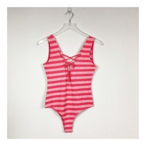 E.SSUE Striped Front Lace Up Bodysuit Small